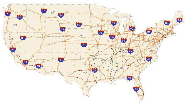 national interstate highway map
