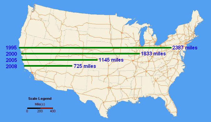 national map showing how far a truck can travel