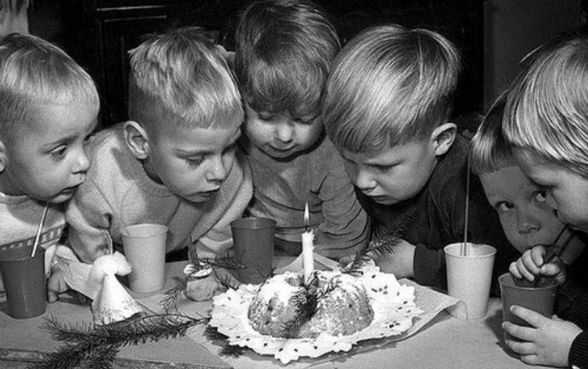 children with cake